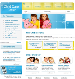 Free School, Nursery, Daycare Website Template