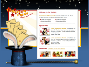 Kids Parties, Children Parties, Free Website Template Four pages with stylesheet & PSD Template
