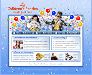 kids parties children parties free website template four pages with stylesheet psd template - Free Templates For Kids