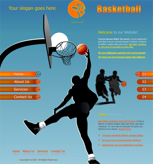 Basketball, Sports, Free Website Template