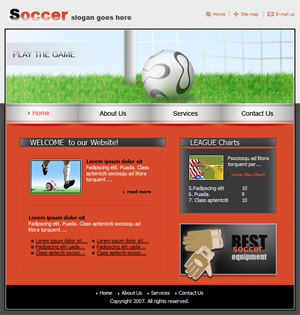 Soccer, Sports, Free Website Template